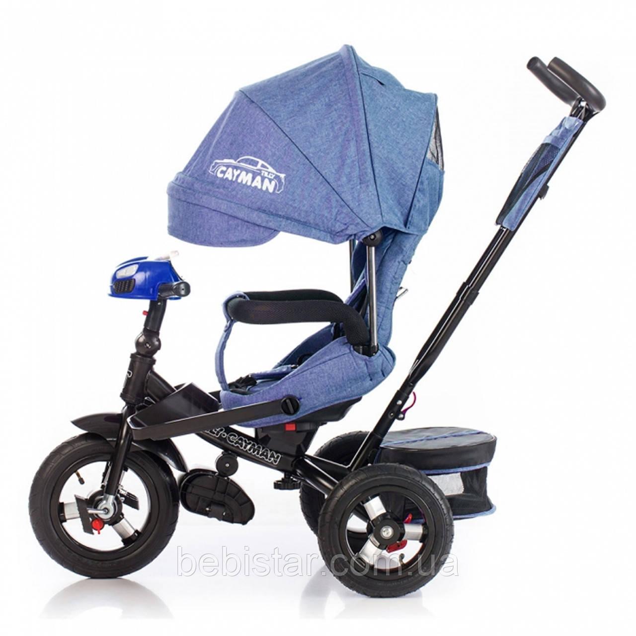 Трехколесный велосипед TILLY CAYMAN синий лен с пультом надувные колеса поворотное сидение музыка и свет