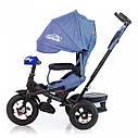 Трехколесный велосипед TILLY CAYMAN синий лен усиленная рама надувные колеса поворотное сидение музыка и свет, фото 2