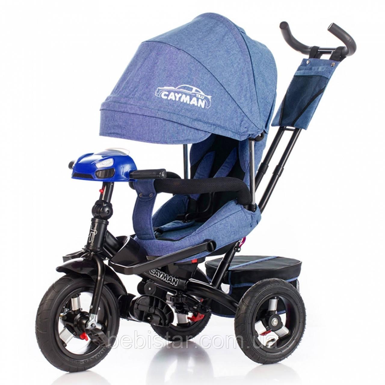 Трехколесный велосипед TILLY CAYMAN синий лен усиленная рама надувные колеса поворотное сидение музыка и свет