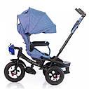 Трехколесный велосипед TILLY CAYMAN синий лен усиленная рама надувные колеса поворотное сидение музыка и свет, фото 3