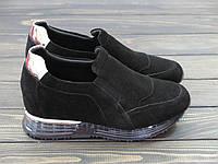 Замшевые черные кроссовки на танкетке Lonza, фото 1