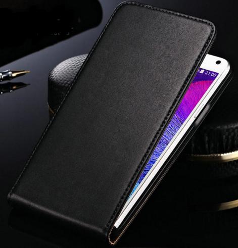 Кожаный чехол флип для Samsung Galaxy Note 4 N910 черный