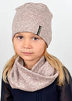 Трикотажний комплект(шапка+хомут)Ангора пудра