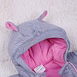 Демисезонный трикотажный комбинезон Mini, розовый, фото 3