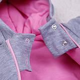 Демисезонный трикотажный комбинезон Mini, розовый, фото 4
