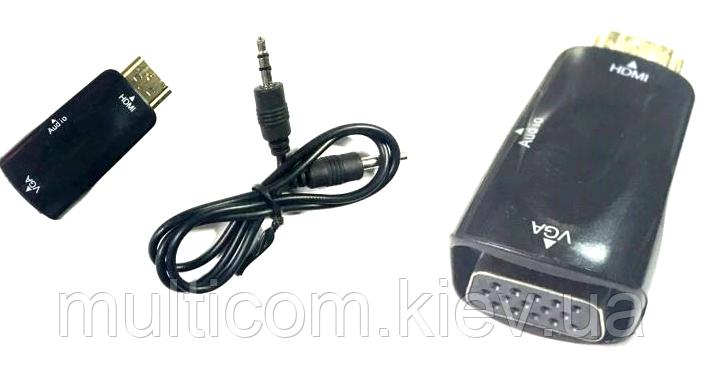 """03-00-003. Конвертор HDMI в VGA (штекер HDMI -> гнездо VGA), со звуком, """"свисток"""""""