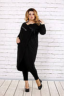 Женская удлиненная туника больших размеров 0702 / цвет черный 0563 / размер 42-74