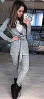 Стильный ангоровый костюм-двойка брюки и удлиненный кардиган