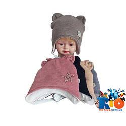 Детская шапка на флисе и холлофайбере для девочки р-р 42-44 (5 ед в уп)