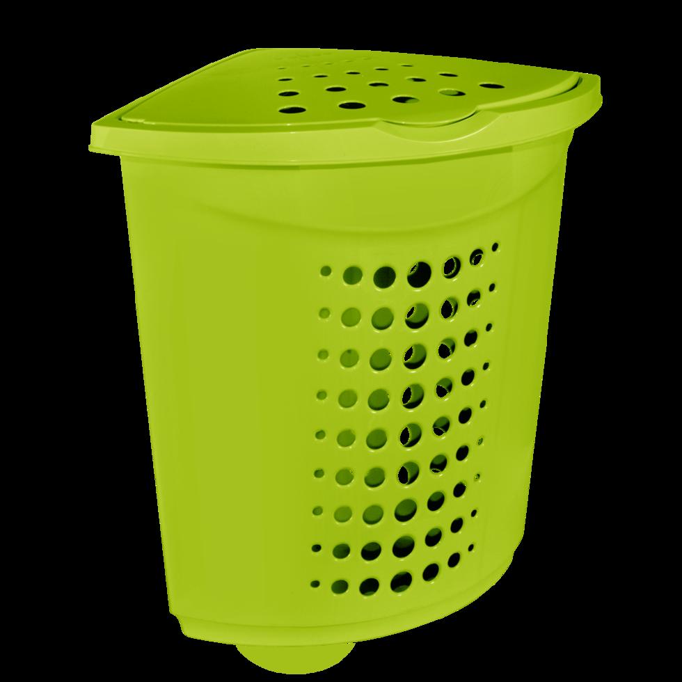 Корзина для белья (угловая) пластиковая 45 л оливковая