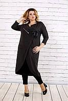 Женская удлиненная туника больших размеров 0702 / цвет темно серый 0563 / размер 42-74