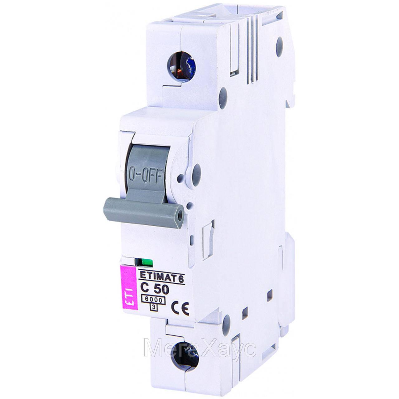 Автоматический выключатель ETIMAT 6 1p С 50А (6 kA)