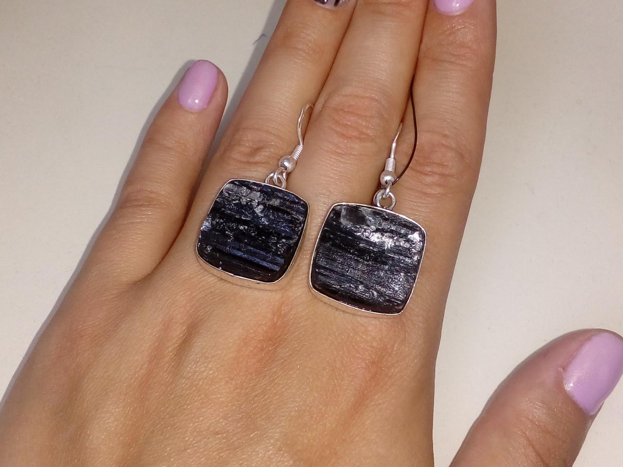 Черный турмалин шерл серьги с натуральным черным турмалином в серебре
