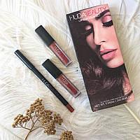 Набор для макияжа губ Huda Beauty (2 матовые помады и карандаш)