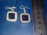 Черный турмалин шерл серьги с натуральным черным турмалином в серебре, фото 6