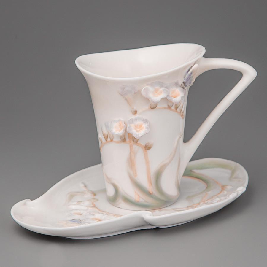 Чашка,блюдце фарфор Unicorn Studio Бабочка в цветке 10 см (20158)