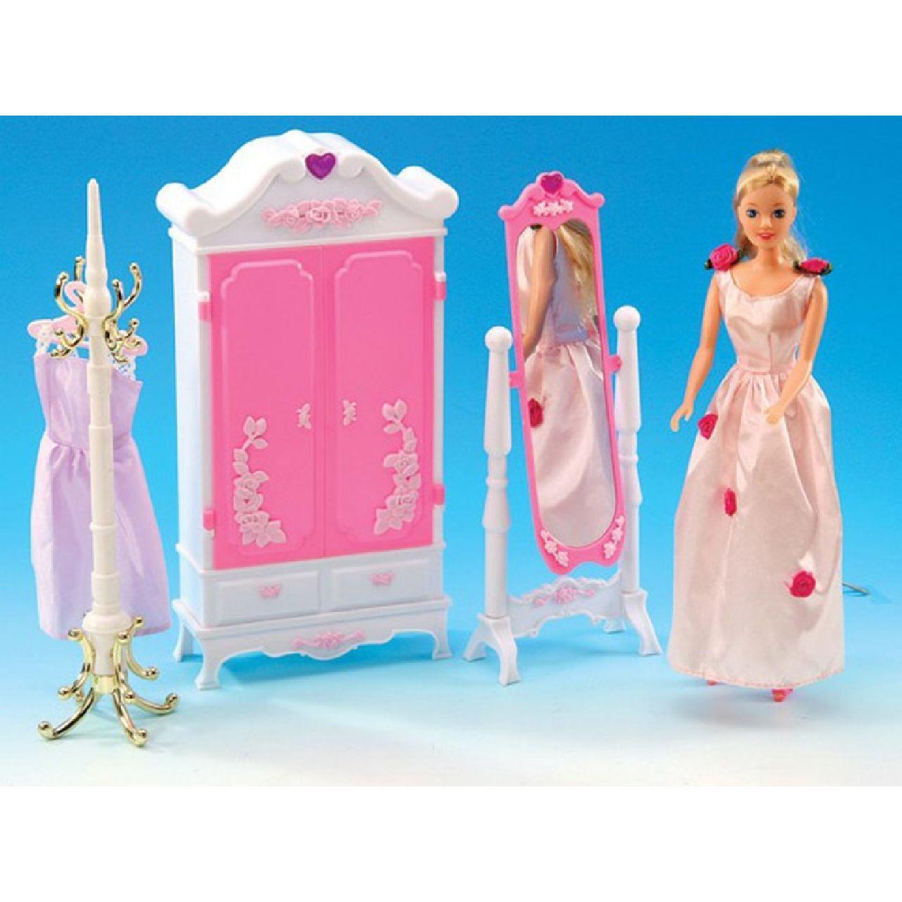 Мебель для кукол Gloria 2609 Гардеробная комната шкаф,зеркало.вешалка д/одежды, в кор.