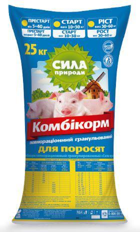 Комбикорм Престартер для поросят 5-40дней (гранула), 25кг