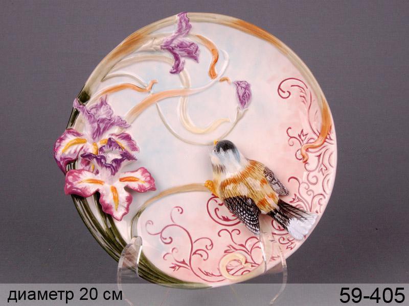Декоративная тарелка Птичка в ирисах 20 см 59-405