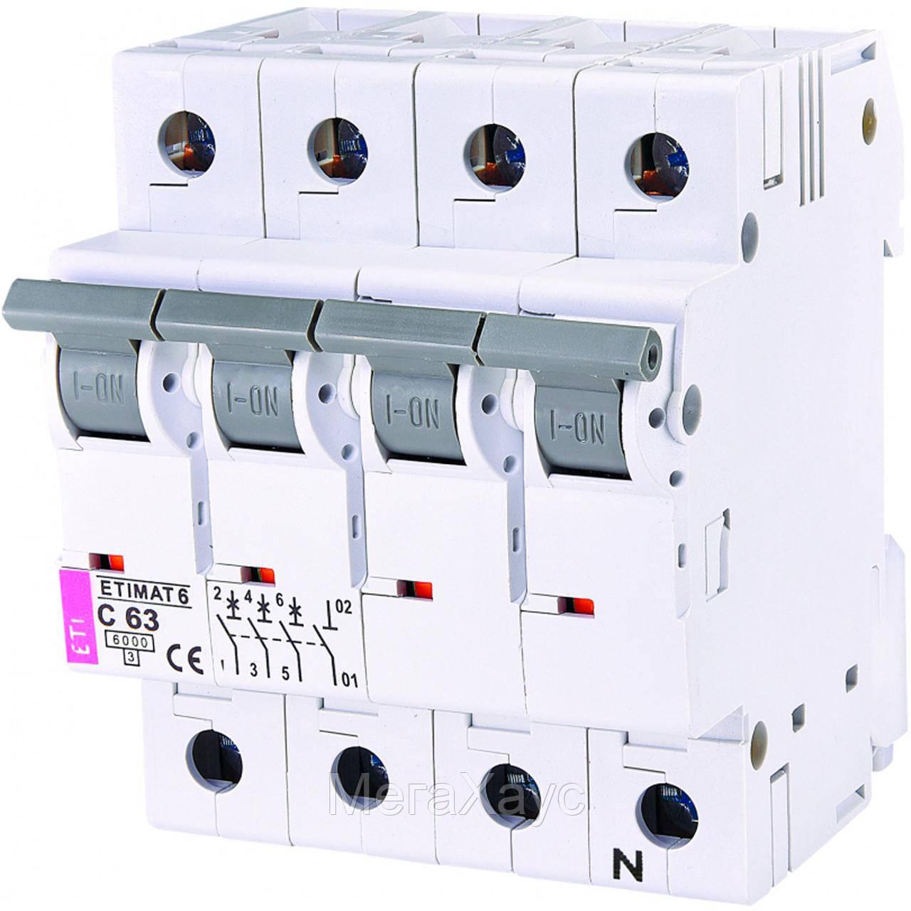 Автоматический  выключатель ETIMAT 6  3p+N C 63А (6 kA)