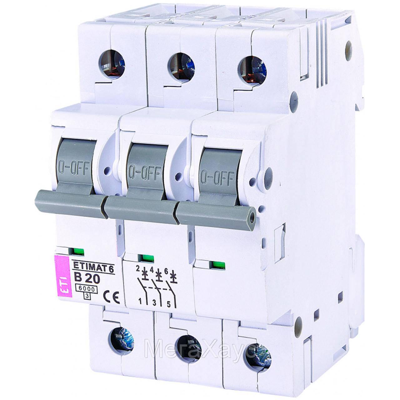 Автоматический  выключатель ETIMAT 6 3p B 20А (6 kA)