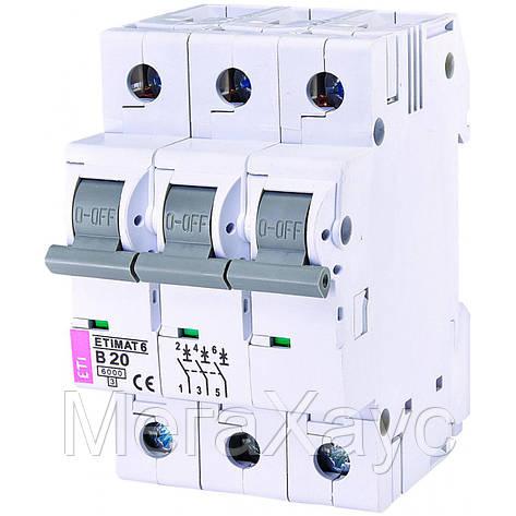 Автоматический  выключатель ETIMAT 6 3p B 20А (6 kA), фото 2