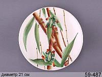 Декоративная тарелка Лягушка на бамбуке 21 см 59-487