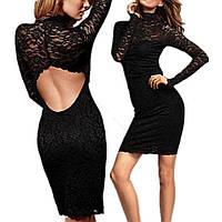 Коктейльное гипюровое платье, с открытой спиной, цвет черный