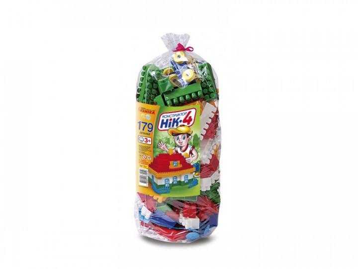 """Конструктор """"НІК-4"""" 179 елементів, в кульку, 0910 Юніка"""