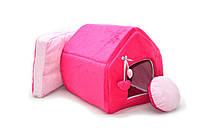 Домик для котов и собак Плюш розовый, фото 1