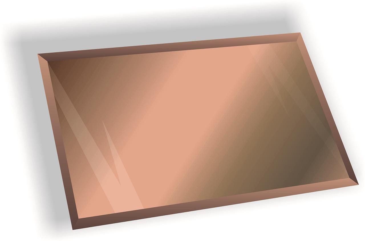 Зеркальная плитка НСК прямоугольник 350х400 мм фацет 15 мм бронза, фото 1