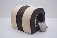 Будка туннель для собак и котов Комфорт лето коричневая