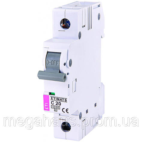 Автоматический  выключатель ETIMAT 6 1p С 20А (6 kA), фото 2