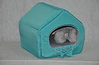 Домик для кошек собак VIP плюш бирюзовый