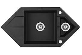 Мийка 1,5-камерна з полицею Deante HEXON, трапеція, графітовий граніт, 995х500х190 мм