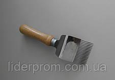 Вилка  для распечатывания  сотов 17 игл  с перегибом,нержавейка, ручка деревянная LYSON Польша, фото 2