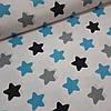 Ткань польская хлопковая Люкс, крупные серо-черно-бирюзовые звезды (пряники)