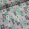 Ткань польская хлопковая, мишки в коронах розово-мятные