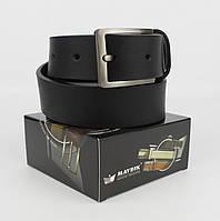 Кожаный классический ремень Maybik 15009 черный 35 мм с коробочкой, фото 1
