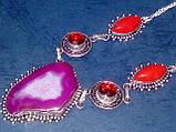 Ботсванский агат, коралл, гранат ожерелье, колье с натуральными камнями в серебре Индия, фото 3