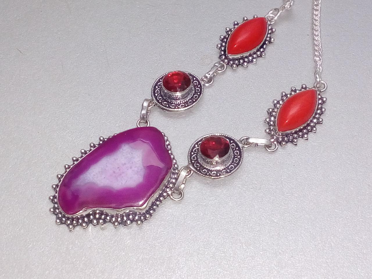 Ботсванский агат, коралл, гранат ожерелье, колье с натуральными камнями в серебре Индия