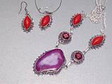 Ботсванский агат, коралл, гранат ожерелье, колье с натуральными камнями в серебре Индия, фото 5