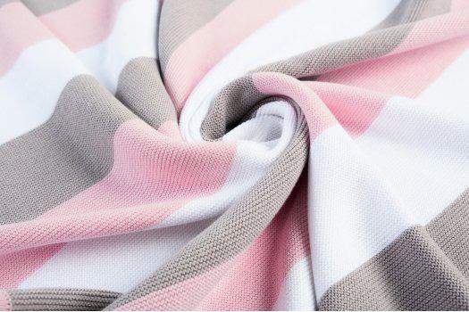 Плед вязаный Малыш полоса розовая+шапочка