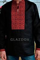 Мужская рубашка вышиванка из черного льна