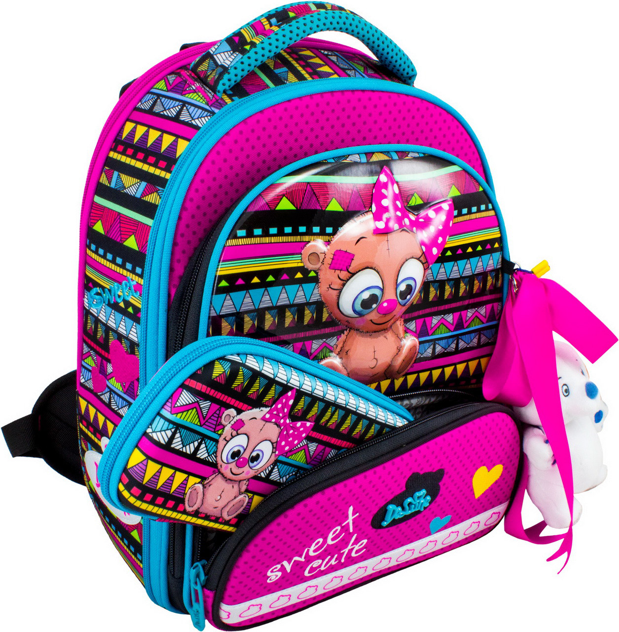 Новейший каркасный ранец для школьниц. В подарок мешок для обуви, пенал и брелком. Доставка бесплатно.