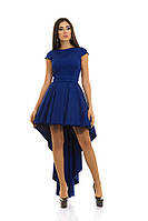 Женское нарядное пышное платье спереди короче сзади шлейф