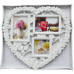 "Мультирамка пластиковая ""LOVE""  на 3 фото,  (рамка для фотографий на стену)"
