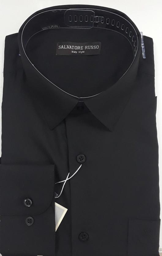 Черная классическая рубашка SALVATORE RUSSO (размеры 42,43,44)