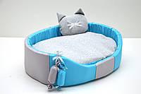 Лежак для собак и котов Комфорт лето бирюзовый