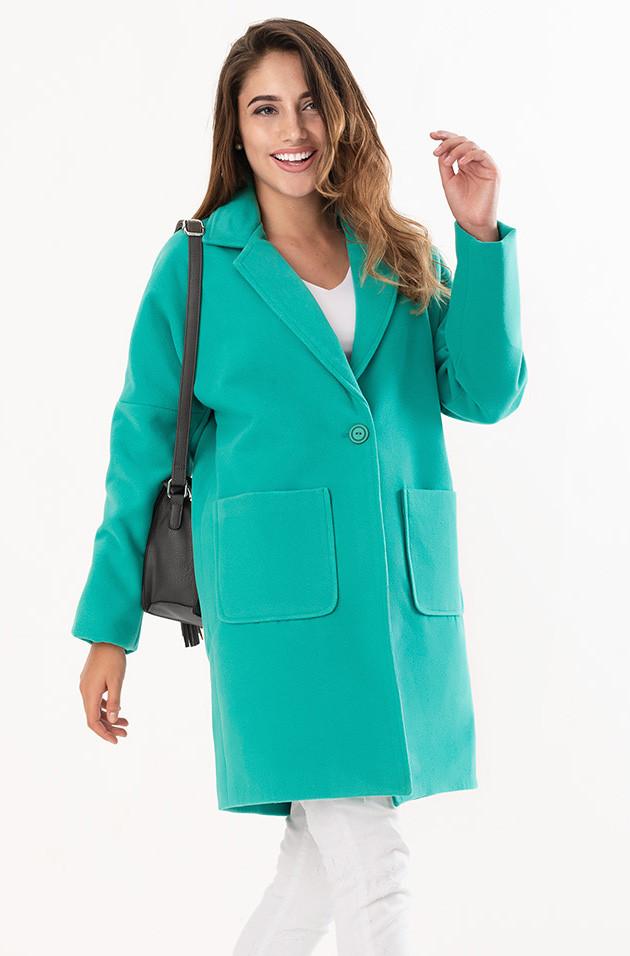 0738aee10ec Женское кашемировое пальто ментолового цвета с карманами. Модель 19262